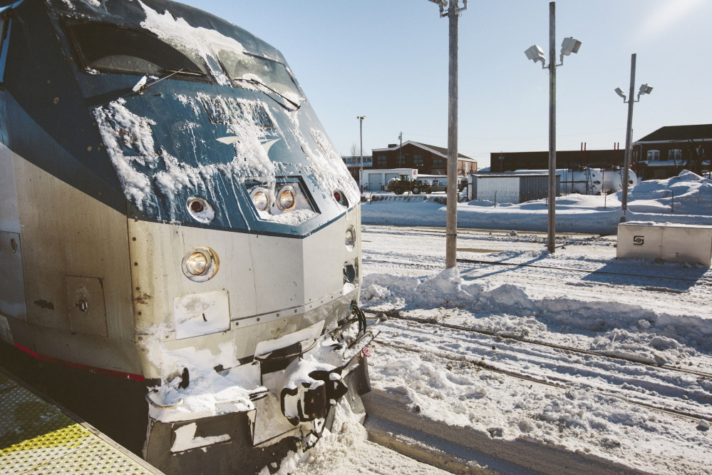 Whitney Hayward/Staff Photographer The Downeaster from Boston arrives at the Portland Transportation Center platform Friday. Passengers headed to Boston on Thursday were stranded when a mechanical problem with the train left it stuck in North Berwick.