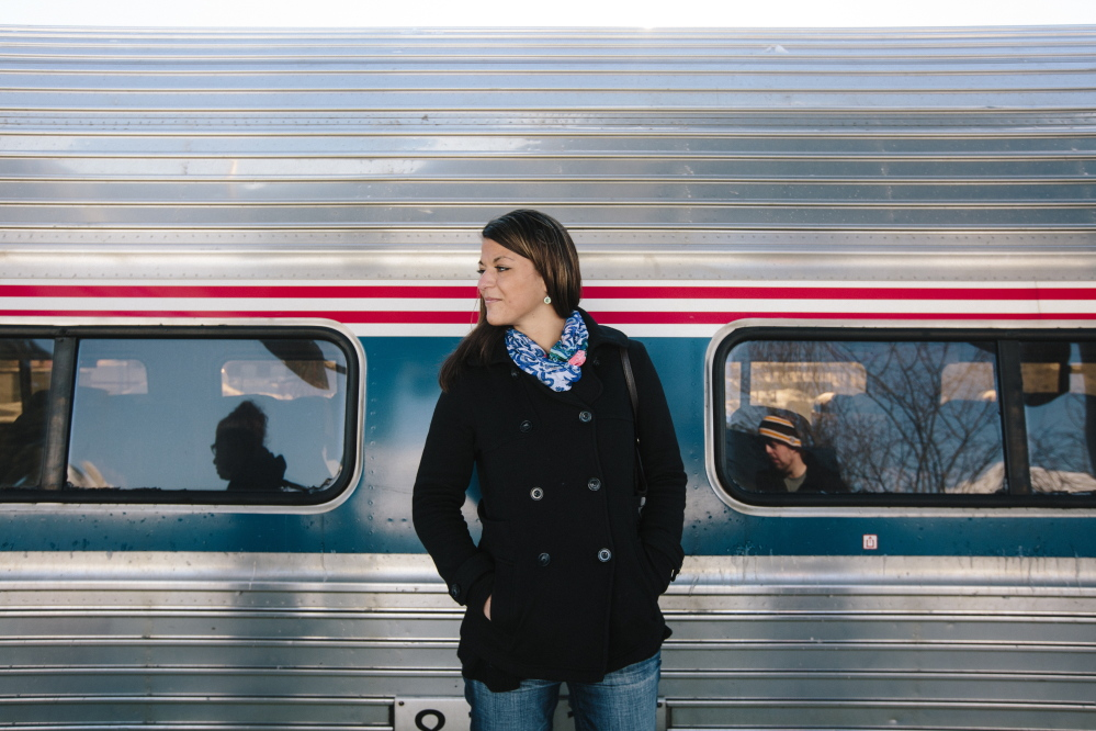 Jessica LaJoie, seen Friday near the Amtrak Downeaster in Portland, was stranded for hours Thursday when her train to Boston broke down in North Berwick. She said she had spent about $1,000 planning a big night out in Boston.