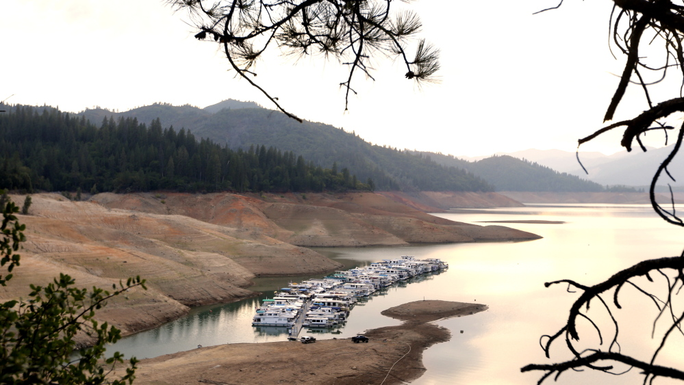 House boats are docked in the low water at Lake Shasta's Bay Bridge resort near Redding, Calif., in September. A new study says the drought in the U.S. Southwest pales in comparison with what's coming later this century.