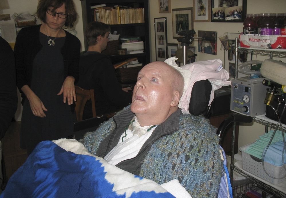 """Bob Veillette is stricken with """"locked-in syndrome."""" He can hear, see and feel pain, but is completely paralyzed except for his eyes and eyebrows."""