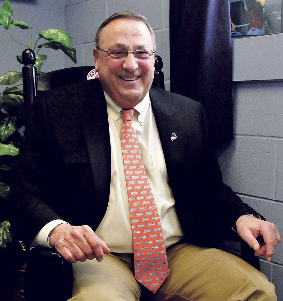 "Sporting his Moxie tie, Maine Gov. Paul LePage laughs at the thought of running for other public office positions, including the presidency, during a wide-ranging interview last week in Waterville. ""Like Clint Eastwood said, a man's got to know his limitations. I don't do well on committees,"" he said."