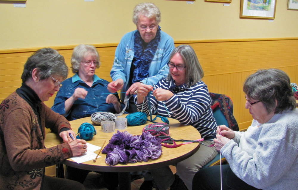 Knitters are invited to gather at Spectrum Generations Coastal Community Center in Damariscotta on Tuesday for a tutorial on creating ruffled knitted scarves.