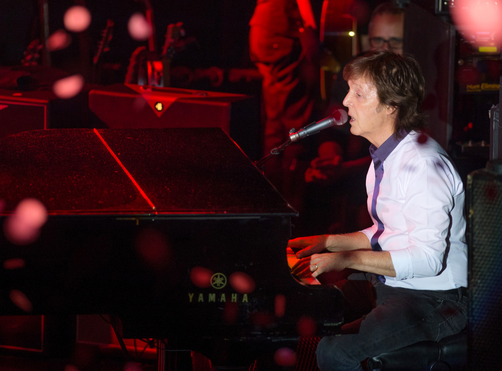 Paul McCartney and his band perform a secret Valentine's Day concert at Irving Plaza  in New York on Saturday.