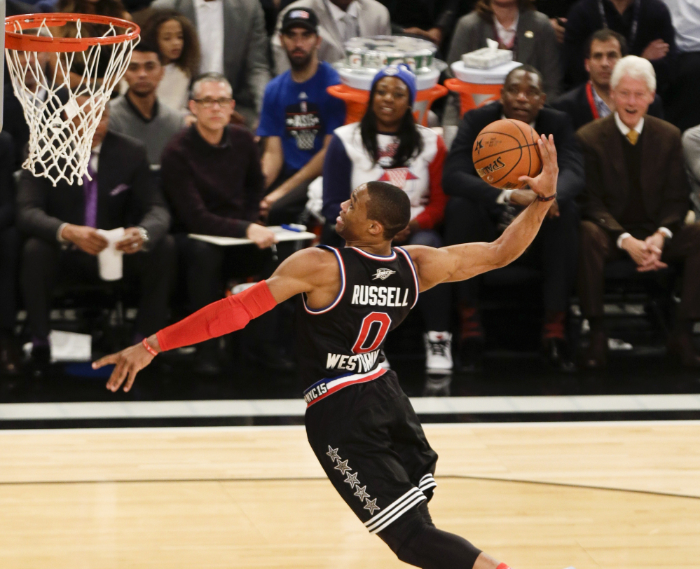Russell Westbrook of the Oklahoma City Thunder scored 41 points and the West won the NBA All-Star Game 163-158 on Sunday in New York.