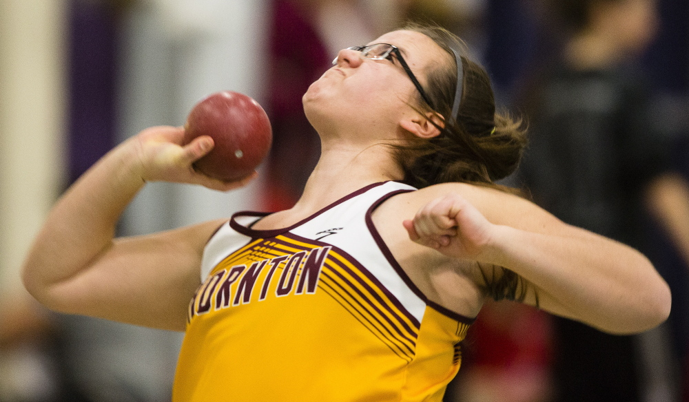FEB. 16: CLASS A GIRLS INDOOR TRACK Thornton Academy's Samantha Curran won the shot put with a throw of 38 feet,   inches to help the Trojans win the Class A girls championship for the second year in a row.