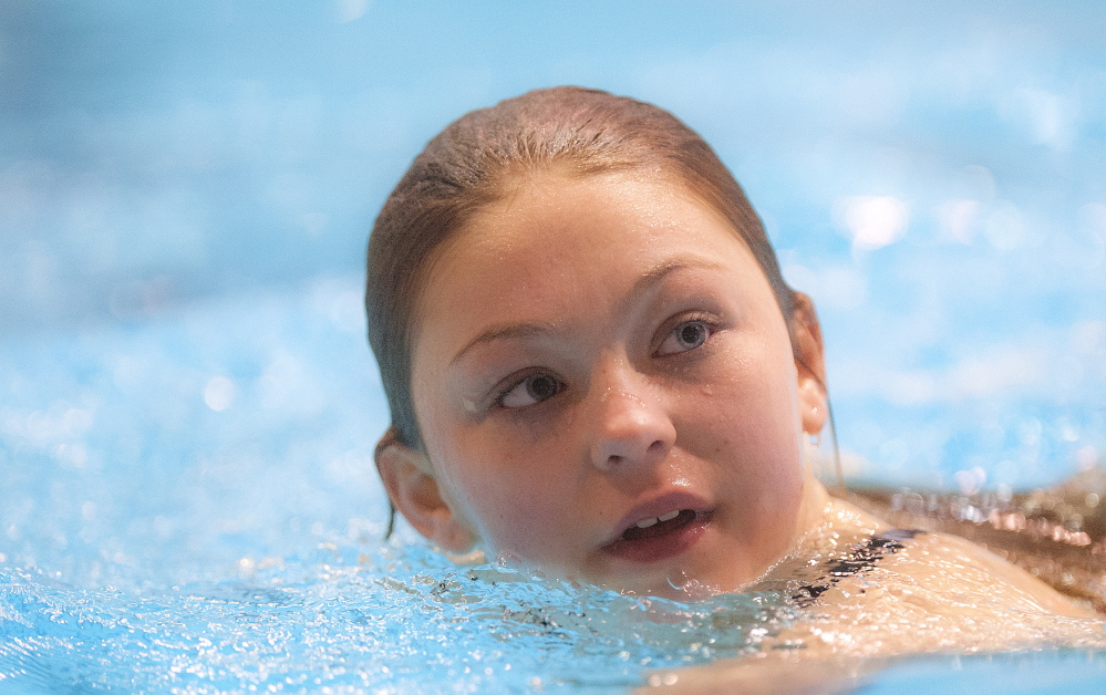 FEB. 16 CLASS B GIRLS SWIMMING Old Town sophomore Kassidy Harriman won the diving title with a score of 311.65 points.