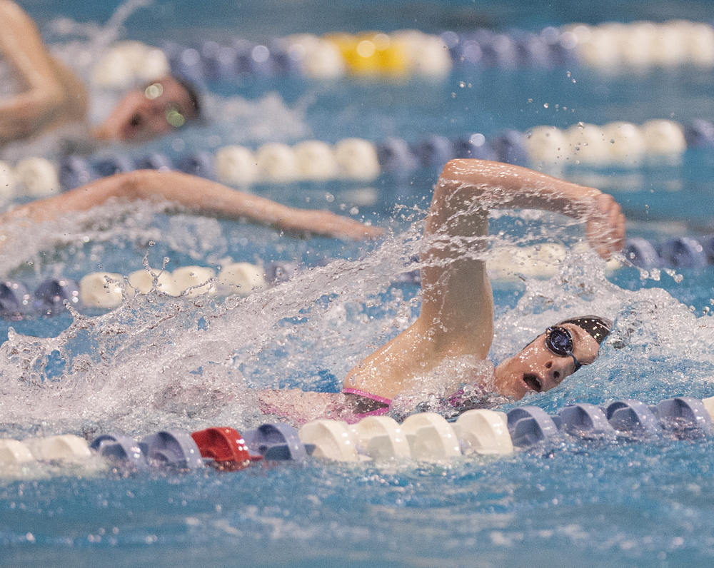FEB. 16 CLASS B GIRLS SWIMMING Brittany Kaler of Morse heads to a fifth-place finish in the 100-yard freestyle.
