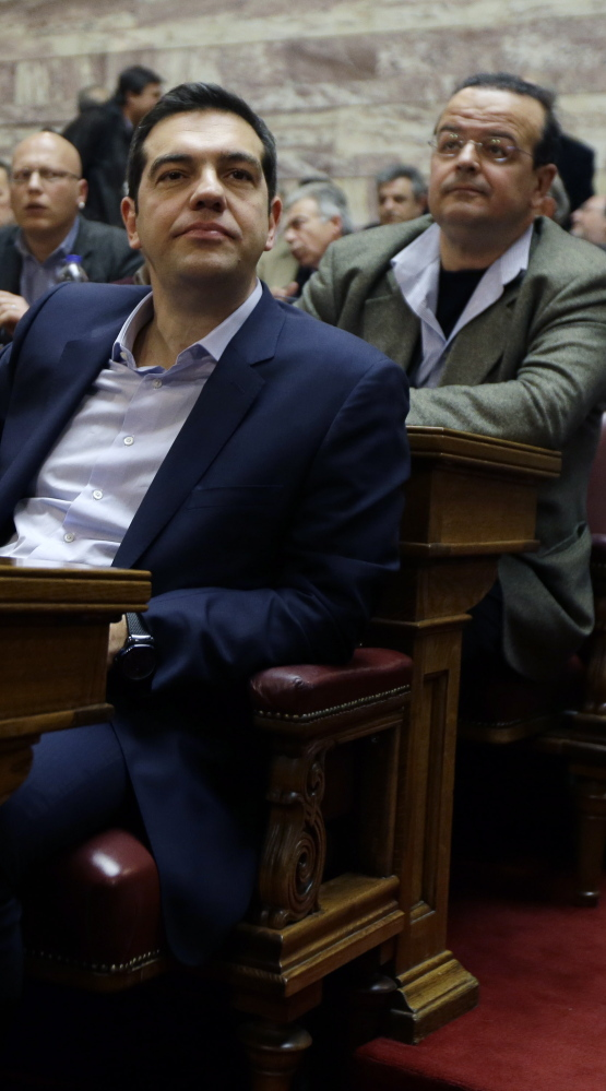"Greek Prime Minister Alexis Tsipras, front, says Greece wants a ""mutually beneficial' deal with creditors."