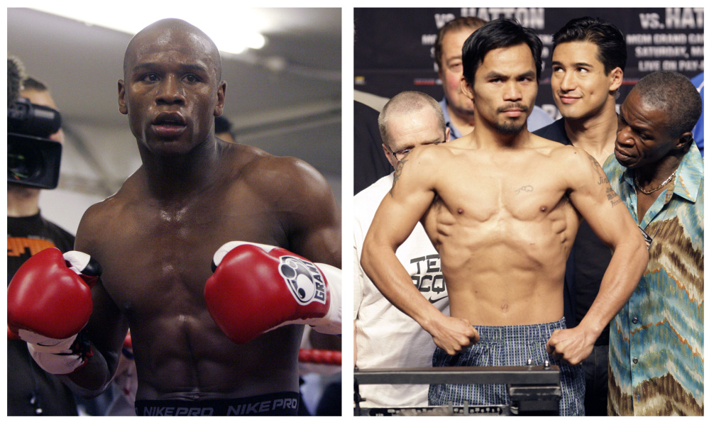Floyd Mayweather Jr., left, and Manny Pacquiao will meet on May 2 in Las Vegas in a welterweight showdown that will be boxing's richest fight ever. Mayweather announced the bout Friday, after months of negotiations, posting a picture of the signed contract online. Associated Press file photos
