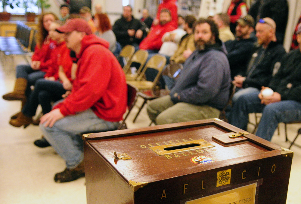 A ballot box sits on a table before a meeting where FairPoint workers got details on the contract and then voted on whether or not to ratify it. The striking workers ratified tentative agreements with FairPoint Communications after three days of voting in Maine, New Hampshire and Vermont.