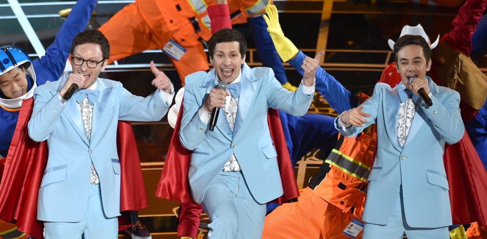 Akiva Schaffer, from left, Andy Samberg and Jorma Taccone of The Lonely Island perform at the Oscars on Sunday at the Dolby Theatre in Los Angeles.