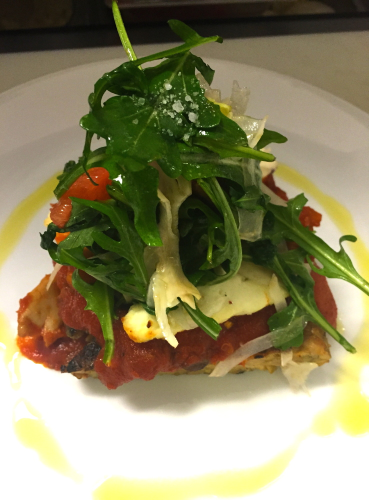 Herb-grilled tempeh beneath layers of marinara with mushrooms and smoked provolone will be an entrée choice at Congress Squared in the Westin Hotel in Portland during Maine Restaurant Week.