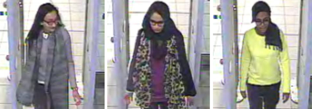 London police released security camera images of Kadiza Sultana, 16, left,  Shamima Begum, 15,  and Amira Abase, 15, at Gatwick airport Monday, before their flight to Turkey.