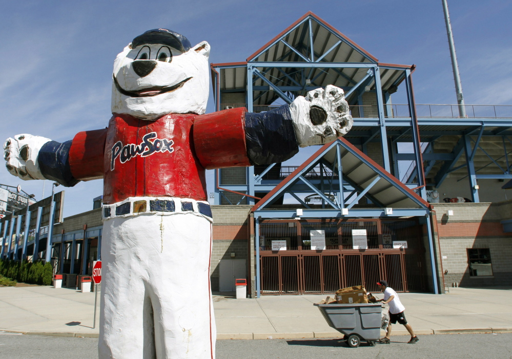 PawSox mascot Paws has been a popular attraction outside McCoy Stadium in Pawtucket, R.I., but his fate is uncertain with the team Providence-bound.