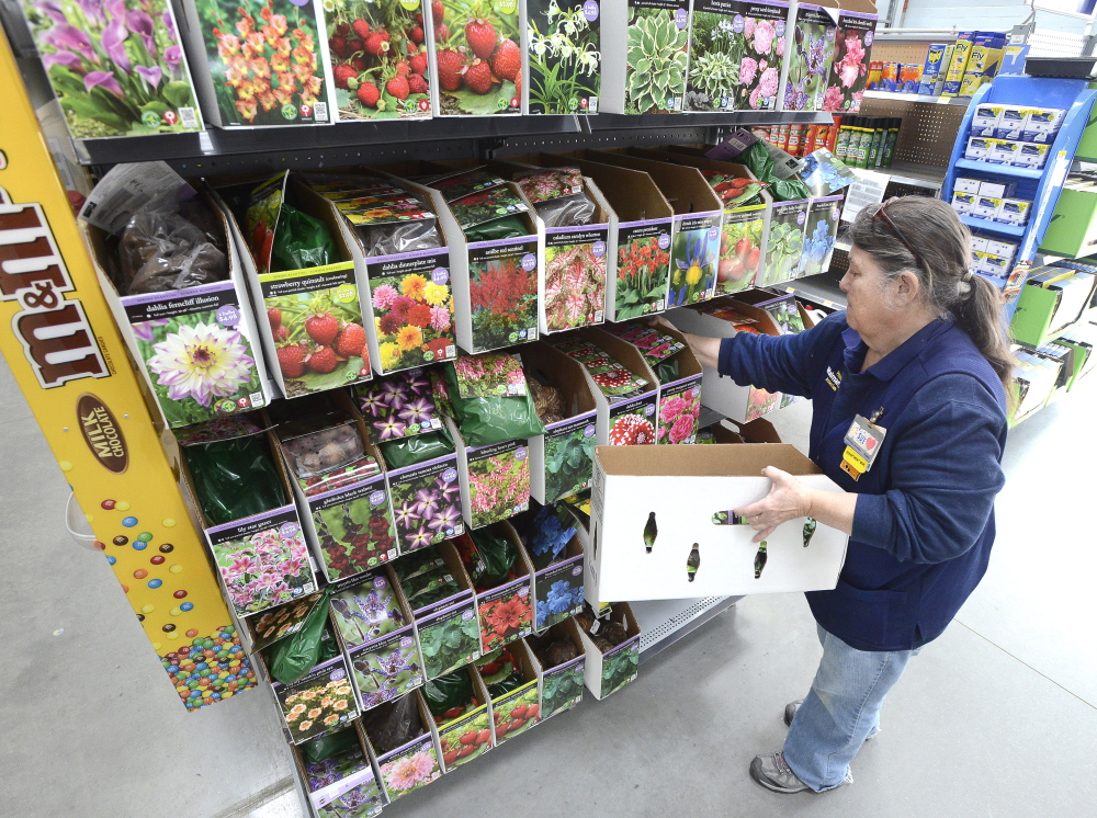"""""""I think this is a wonderful place to work,"""" said Sue Mondor, a 12-year employee who manages the lawn and garden department at Wal-Mart's Scarborough store. As she stocked shelves Tuesday, Mondor said the company's new pay policy will boost morale and """"get people to stay longer."""""""