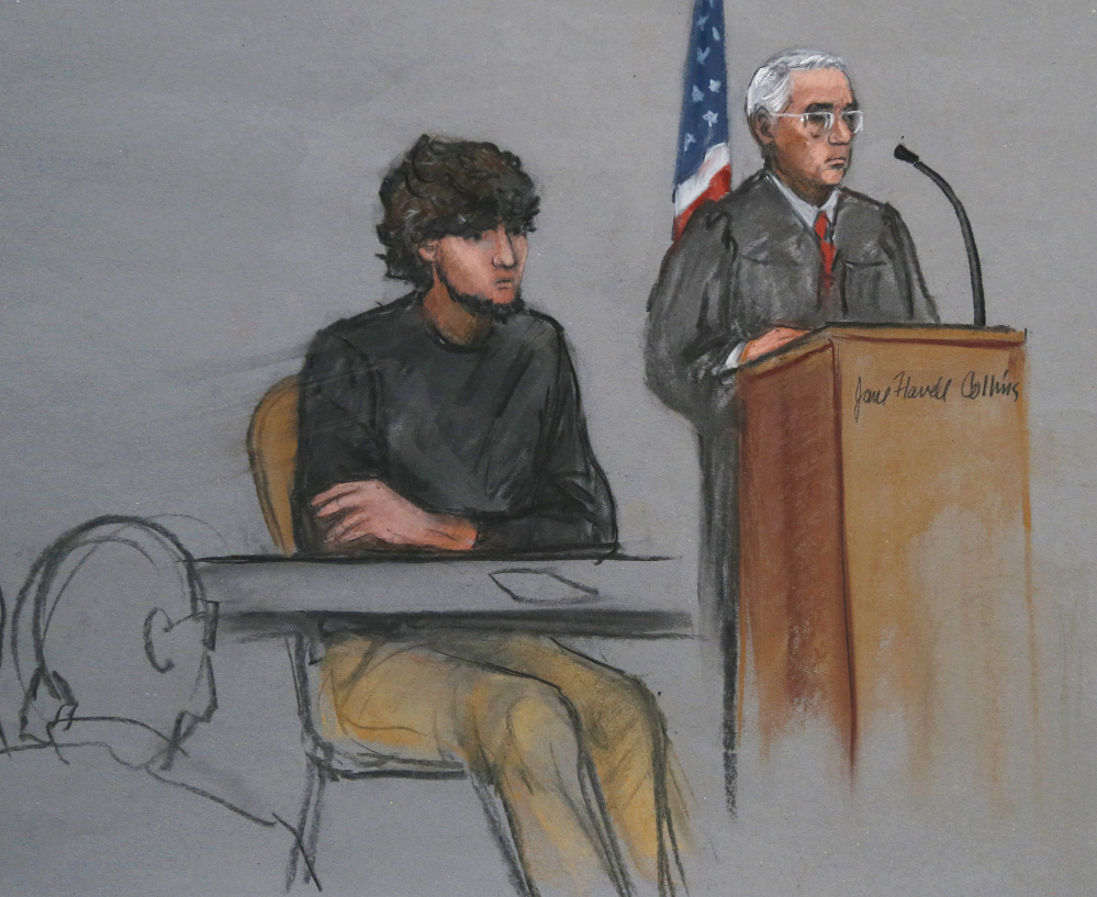 "U.S. District Judge George O'Toole Jr., right, said during Wednesday's proceeding that the start of testimony in the trial of Boston Marathon bombing suspect Dzhokhar Tsarnaev, center, was ""getting pretty close."""