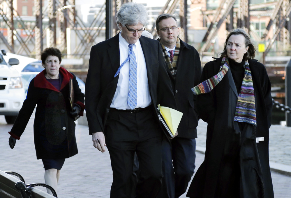 Members of the legal defense team for Boston Marathon bombing suspect Dzhokhar Tsarnaev include Miriam Conrad, far left, Timothy Watkins, second from left, William Fick, second from right, and Judy Clarke, far right.