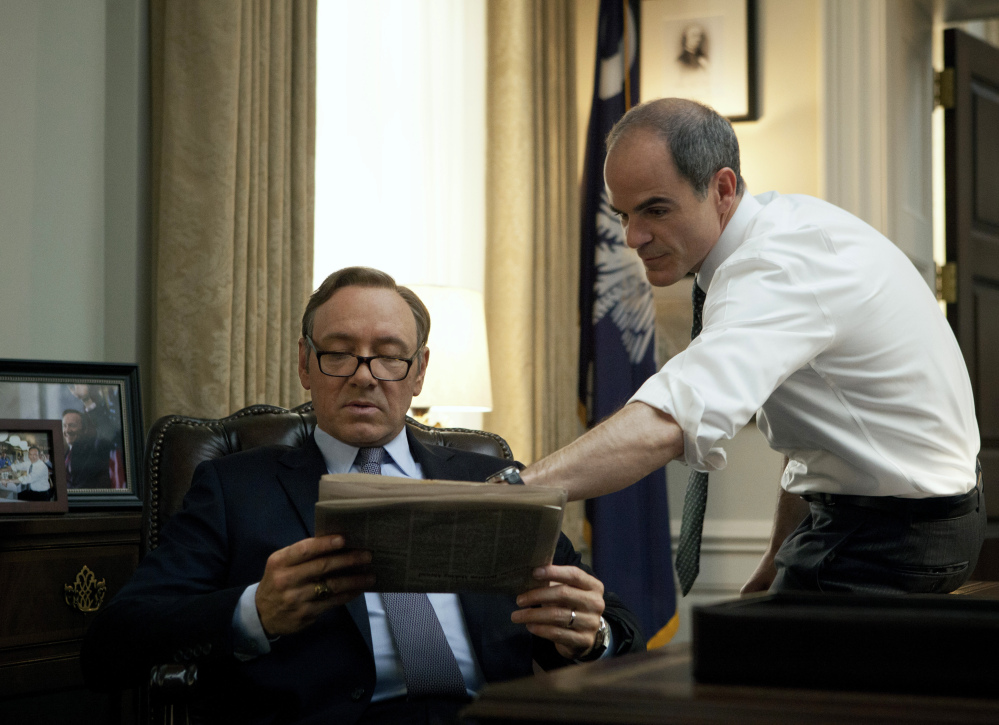"Kevin Spacey, left, and Michael Kelly appear in a scene from ""House of Cards."" The third season of the political drama became available on Netflix on Friday."