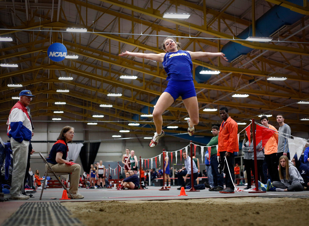 Kate Hall of Lake Region competes in the long jump at a meet in February. On Saturday, she won the national championship in the long jump at the New Balance Nationals in New York City.