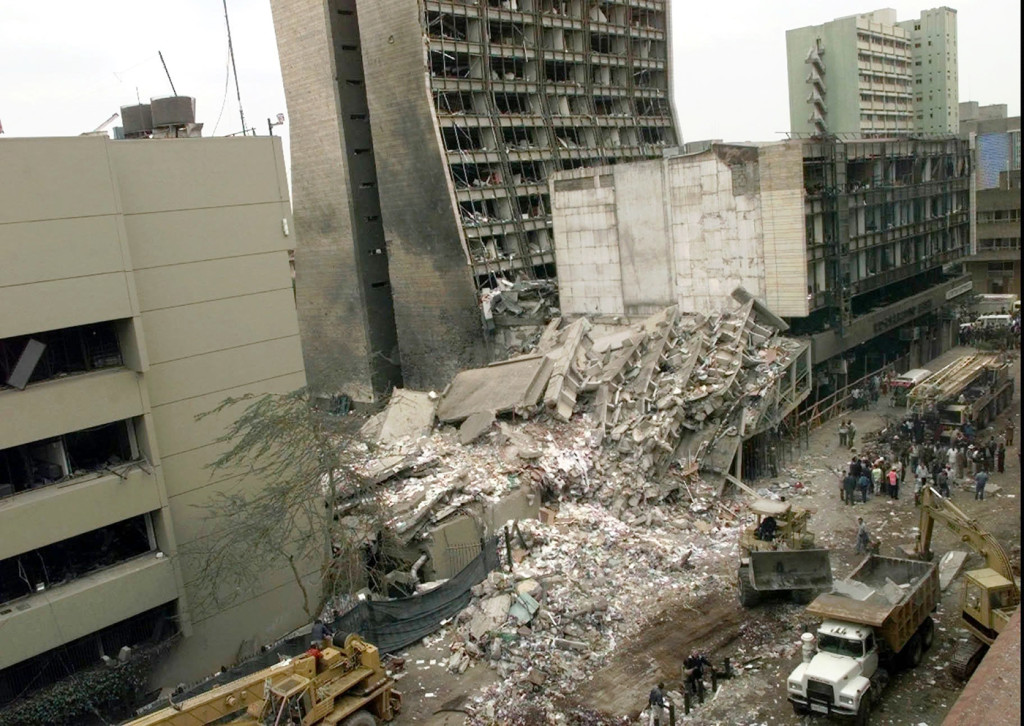 An Aug. 8, 1998, photo of the United States Embassy and other buildings damaged in downtown Nairobi, Kenya. The Associated Press