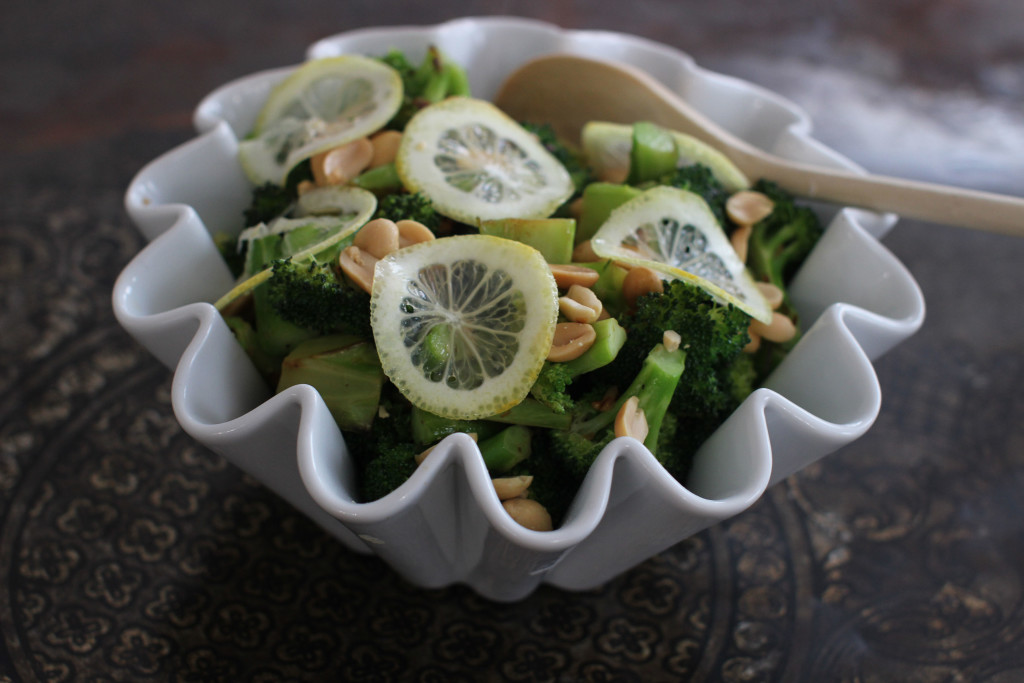 Peanut broccoli with shaved lemon.