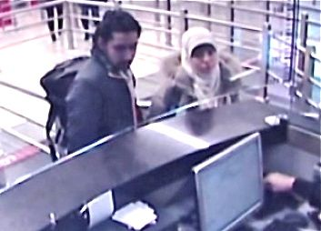 This security camera video footage obtained by Haberturk television on Monday Jan. 12, 2015, shows Hayat Boumeddiene and a  travel companion arriving at Istanbul's Sabiha Gokcen airport on Jan. 2, 2015. The Turkish foreign minister says Boumeddiene stayed at a hotel in Istanbul with another person before crossing the Syrian border. The Associated Press