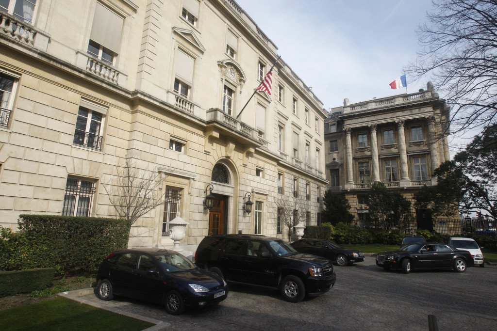 The  American embassy  is one of the Paris landmarks that were buzzed by a drone Monday night. The Associated Press