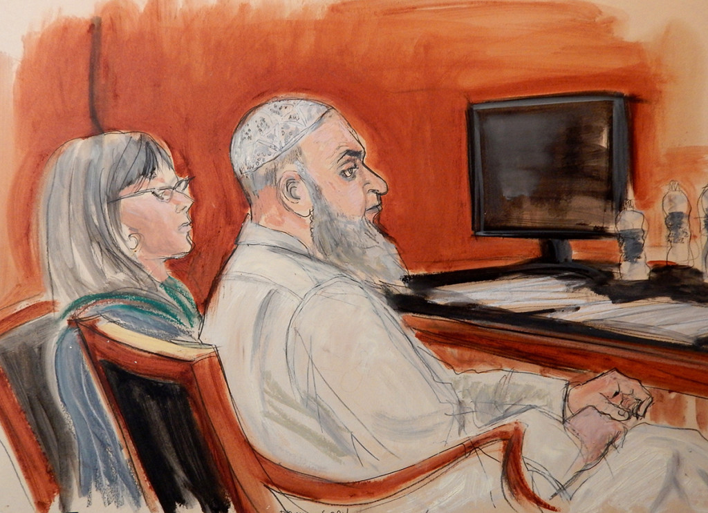 A Jan. 20, 2015, courtroom sketch of Khaled al-Fawwaz, right, seated next to his defense attorney, Barbara O'Connor. The Associated Press