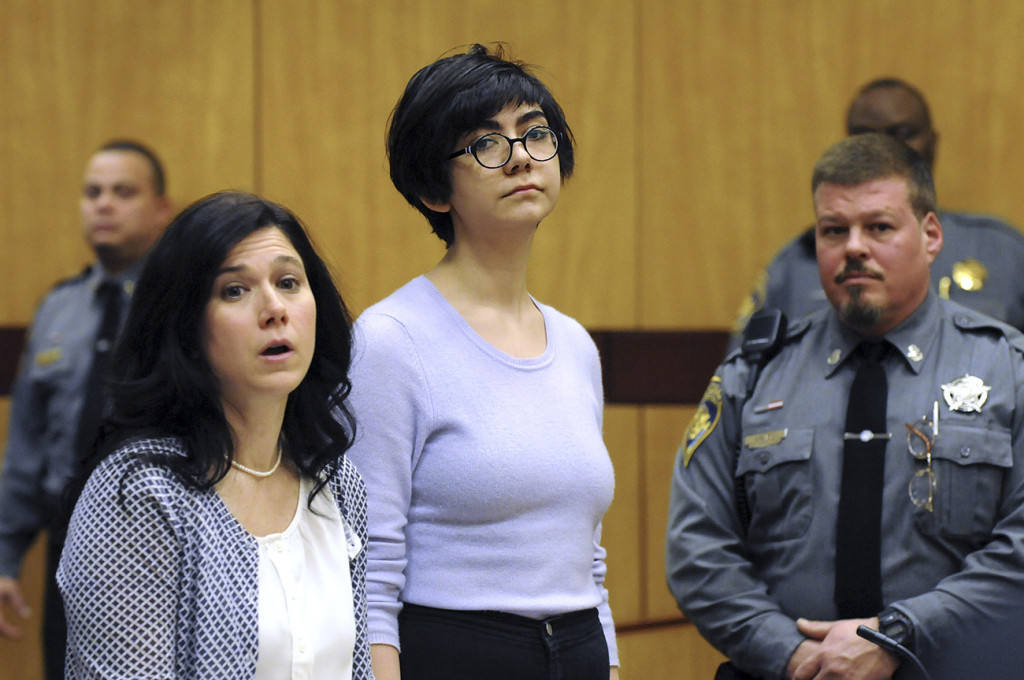 Wesleyan University sophomore and neuroscience major Rama Agha Al Nakib, 20,  stands during her arraignment at Middletown, Conn., Superior Court on Wednesday, for possession of controlled substances and other charges. The Associated Press