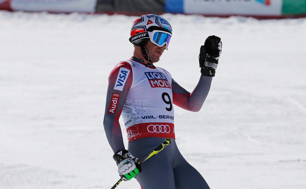 Bode Miller waves after crashing during the men's super-G competition at the alpine skiing world championships Thursday in Beaver Creek, Colo. Miller did not finish the race and went instead to a hospital to have a torn tendon repaired.