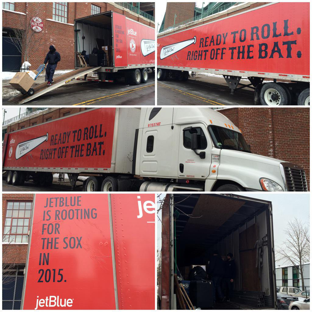 The Red Sox tweeted these photos of the equipment truck being loaded Thursday morning.