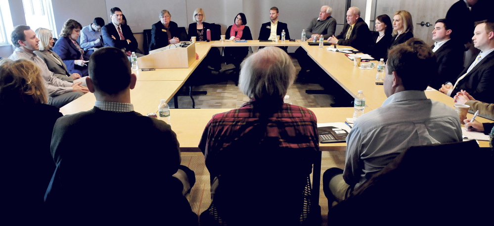 State legislators, business owners, educators and municipal leaders meet on Wednesday at Thomas College in Waterville to discuss ways to develop training programs that will create employment opportunities for young people in the state .