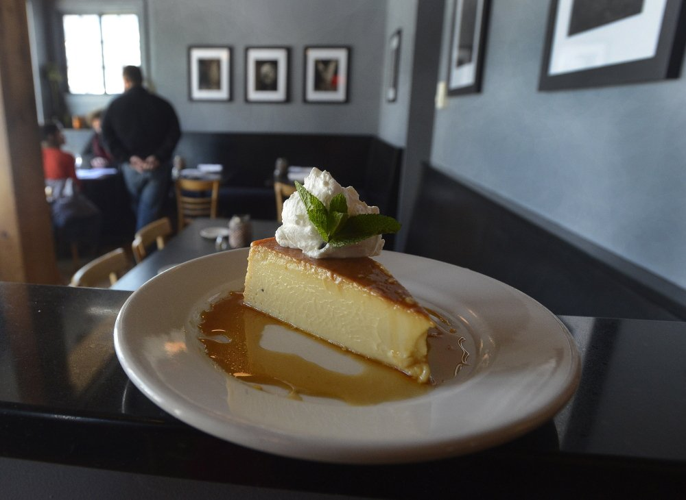 "The recipe for Blue Spoon's coconut caramel flan ""came from a Cuban grandmother,"" said chef/owner David Iovino."