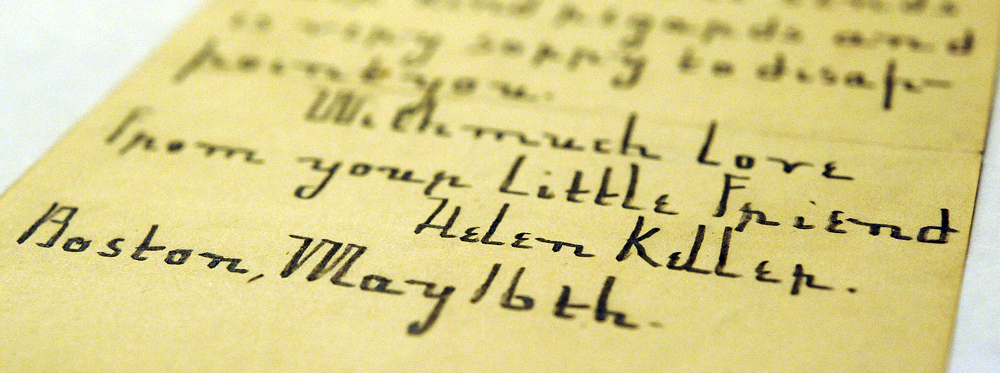 This letter written by Helen Keller has also been donated to the Brewster Historical Museum.