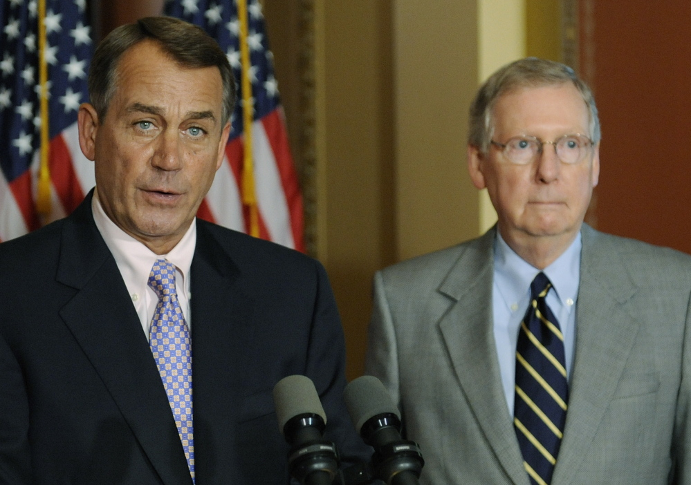 U.S. House Speaker John Boehner, left, and Senate Majority Leader Mitch McConnell have yet to find enough strength in simply outnumbering the Democrats.