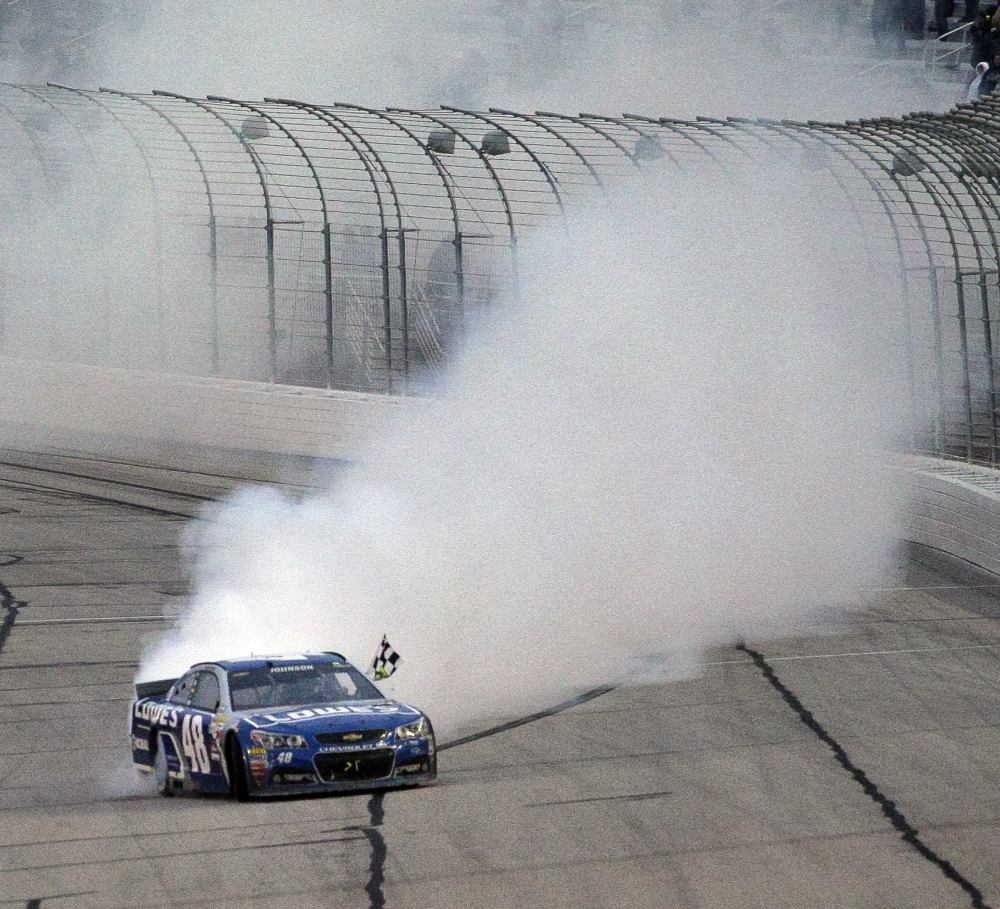 Jimmie Johnson has plenty of experience with celebratory burnouts. Johnson won his 71st career race Sunday, at Atlanta Motor Speedway in Hampton, Ga. Johnson has won four times at the Atlanta track.