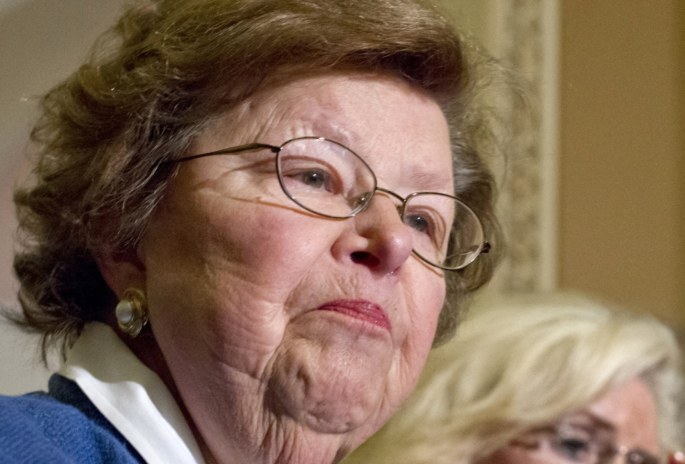 This June 5, 2012 file photo Senate Appropriations Committee Chair Sen. Barbara Mikulski, D-Md. speaks during a news conference on Capitol Hill in Washington. Mikulski, the longest-serving woman in the history of Congress, is making an announcement about her plans for the future.