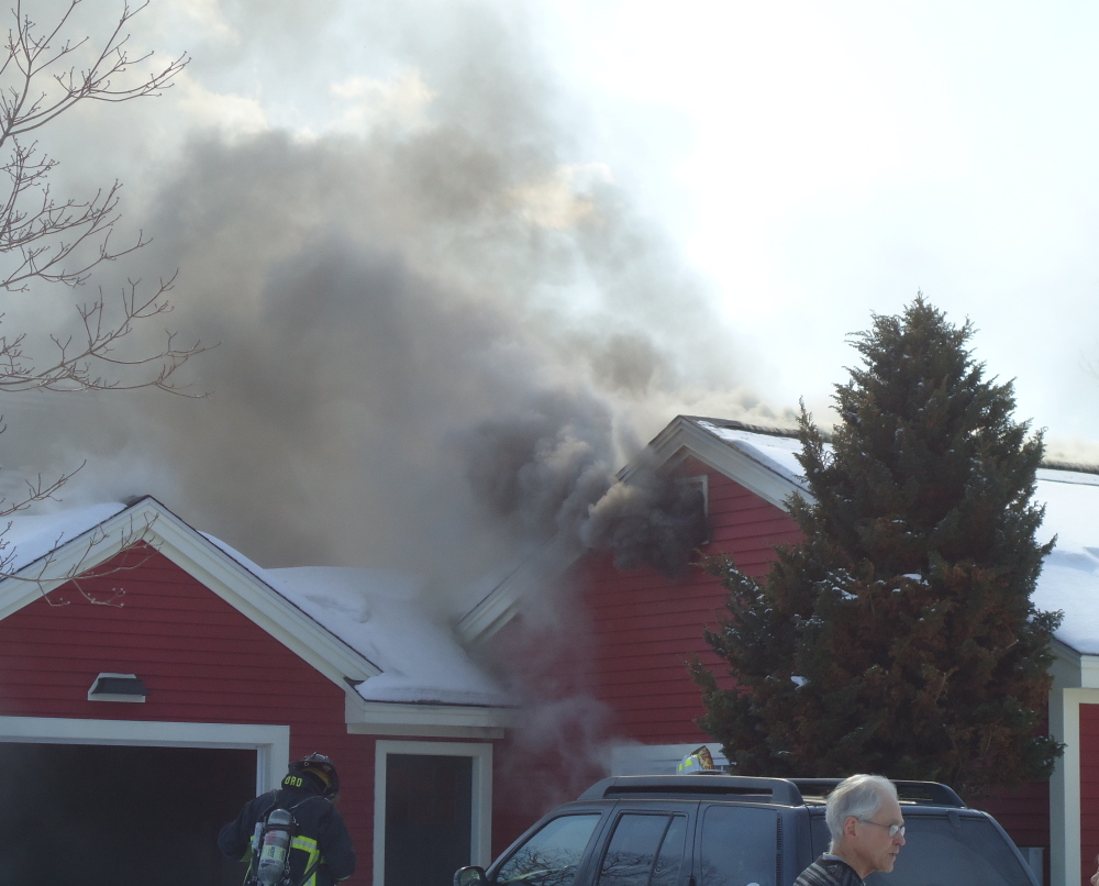 A leak in a propane line caused an explosion and fire Monday morning at this home at 146 Scott Dyer Road in Cape Elizabeth. Nobody was injured from the blast.