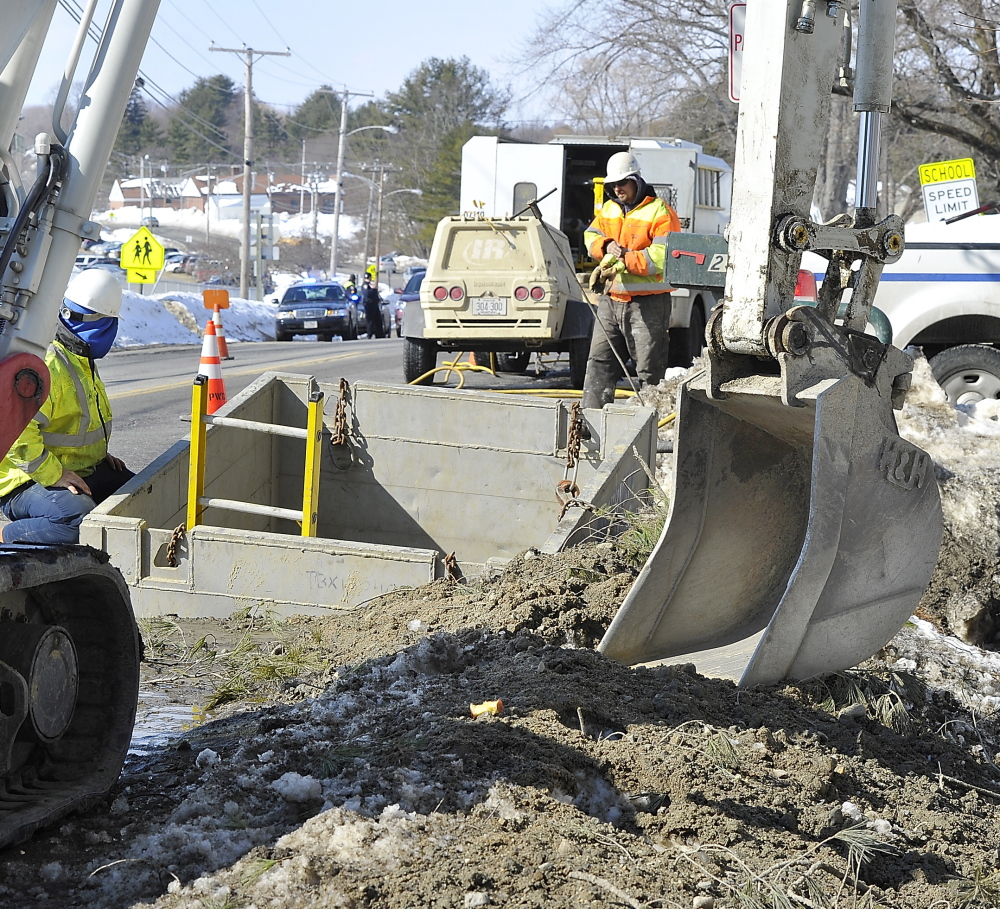 Each water line repair requires extensive excavation, often disrupting traffic. Stroudwater Street was either closed or reduced to one lane Monday as repairs were made.