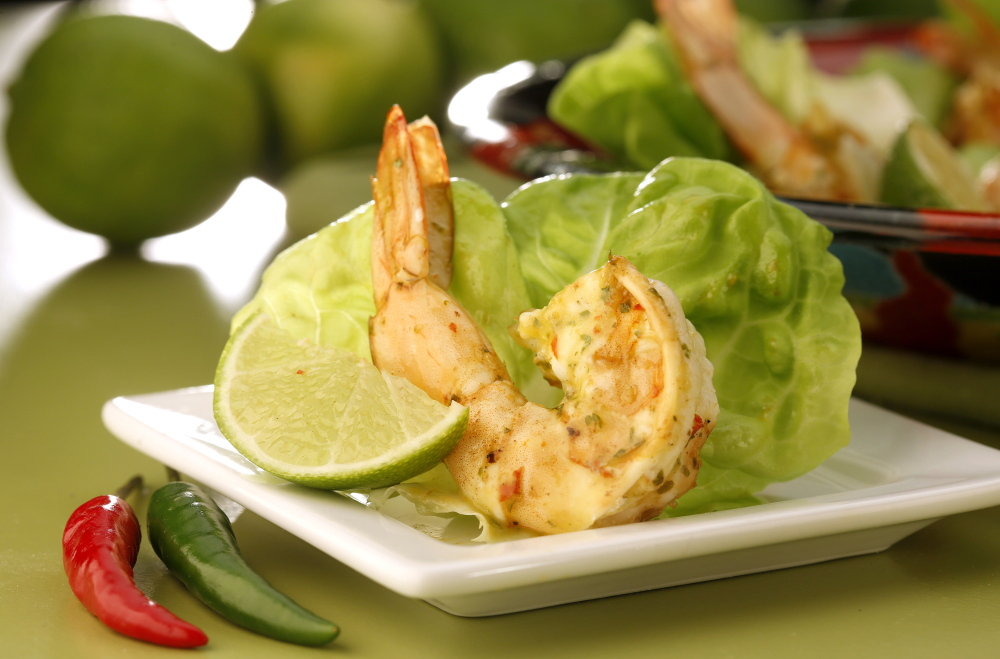 Shrimp Are Marinated In Piri Piri Sauce Then Quickly Sauteed Before Being Served In Lettuce