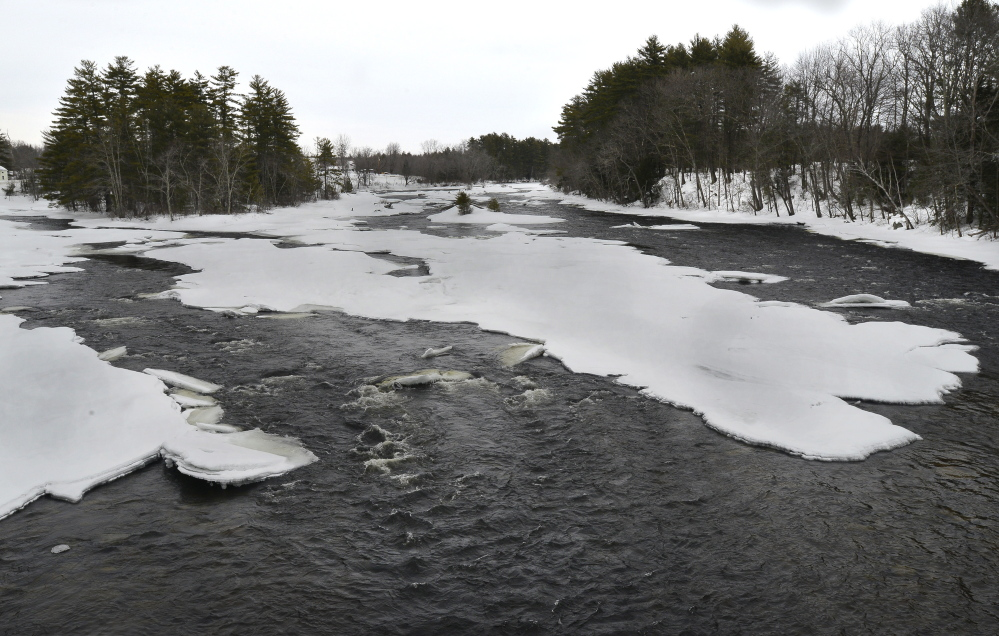 The Saco River, seen here above Route 25 in Limington, is among many rivers in Maine that could flood this spring if melting and heavy rains occur. John Patriquin/Staff Photographer