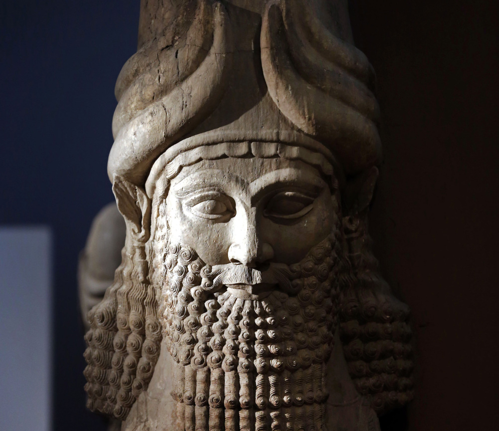 A statue from the Assyrian period is displayed at the Iraqi National Museum in Baghdad. Islamic State militants razed the archaeological site of Nimrud on Thursday.