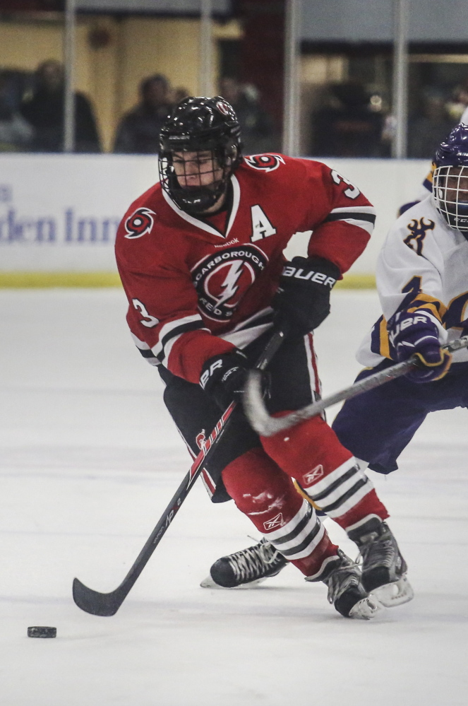 Scarborough High's Matt Caron, shown in action during the 2014-15 season, was named this year's winner of the Travis Roy Award.