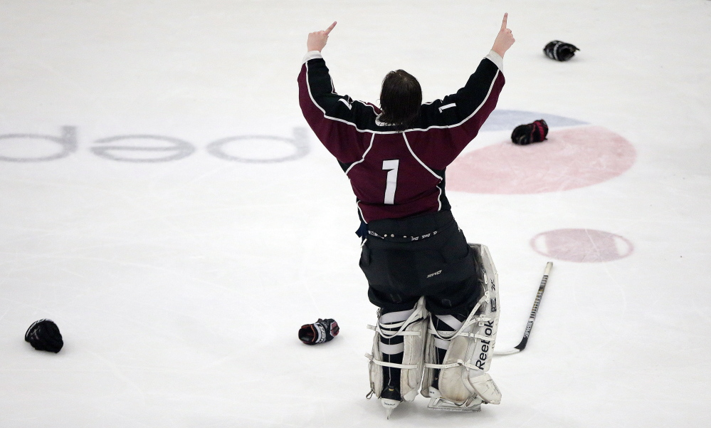 Gorham goalie Noah Bird hopes the No. 1 sign he showed after beating Kennebunk in the Western Class B final will be repeated Saturday afternoon when the Rams take on powerful Messalonskee in a rematch of last year's state championship game.