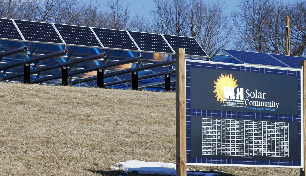 Solar panels are part of the Wright-Hennepin Cooperative Electric Association's community garden in Rockford, Minn.
