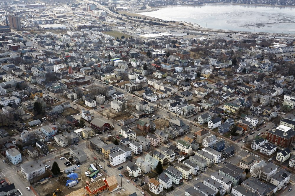 An aerial view of Munjoy Hill/Eastern Prom area. A spokeswoman for the Munjoy Hill Neighborhood Organization says the number of short-term rentals in the area being advertised on Airbnb is