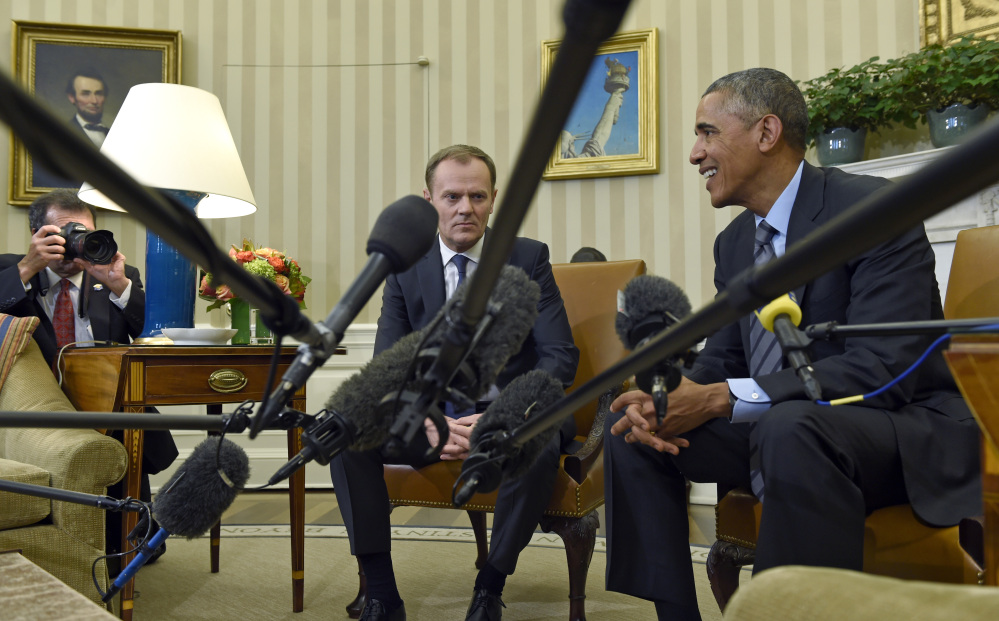 President Barack Obama meets with European Council President Donald Tusk in the Oval Office of the White House in Washington, Monday.