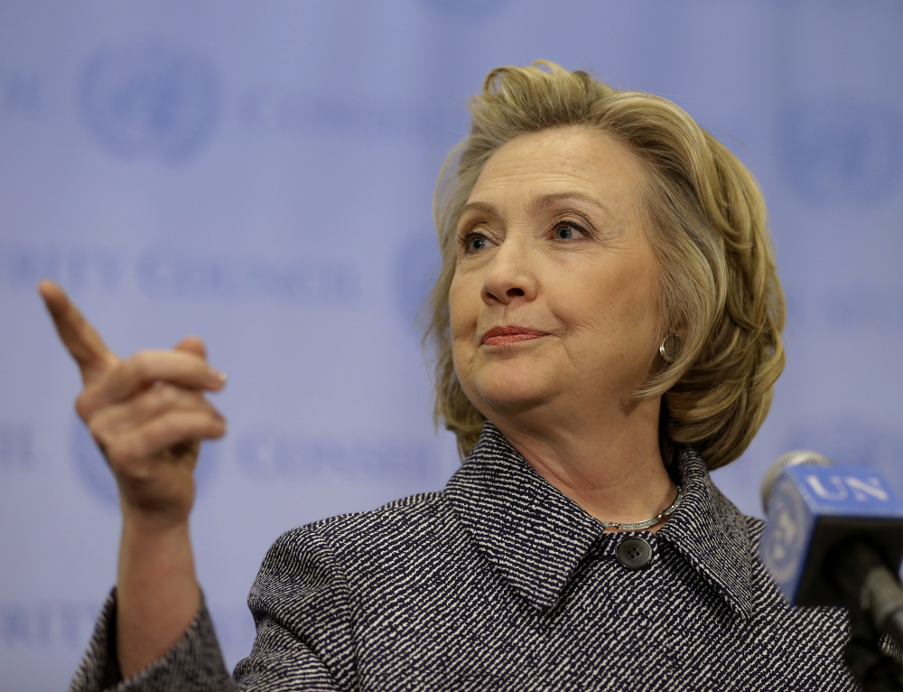"""Hillary Rodham Clinton speaks to reporters at United Nations headquarters Tuesday. Clinton conceded Tuesday that she should have used a government email to conduct business as secretary of state, saying her decision was simply a matter of """"convenience."""""""