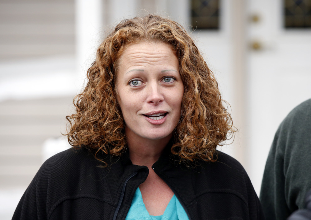 Nurse Kaci Hickox speaks to reporters in Fort Kent in October.