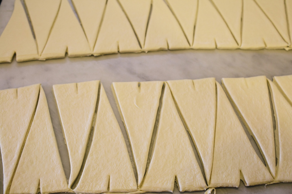 Freshly cut croissants before being rolled at Standard Baking Company in Portland.